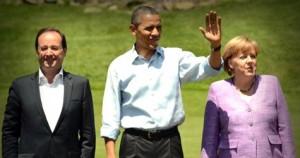 Ολάντ, Ομπάμα και Μέρκελ στο Καμπ Ντείβιντ