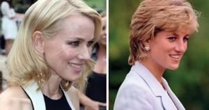 Αριστερά η ηθοποιός Naomi Watts και δεξιά η αδικοχαμένη πριγκίπισσα Νταϊάνα.
