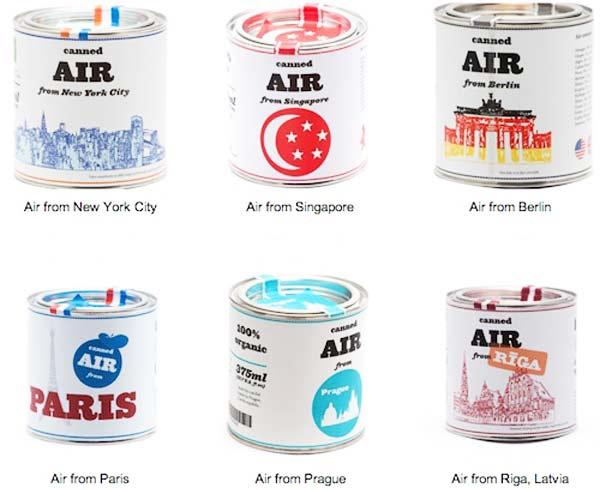 Αέρας σε κονσέρβα από διάφορες πόλεις