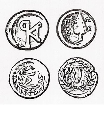 Kεφαλληνιακά νομίσματα,σύμβολα της Τετράπολης (Σάμη,Πρόννοι,Κράνη,Πάλη)