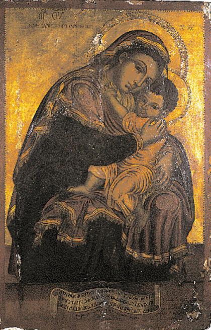 Η Ιστορική εικόνα της Παναγίας που φέρει λατινική αφιερωματική επιγραφή σχετική με τη νίκη των Βενετών στη Ναυμαχία της Ναυπάκτου το 1571. Σάμη, Ναός Κοιμήσεως Θεοτόκου. (Φωτ.: π. Γεώργιος Αντζουλάτος)