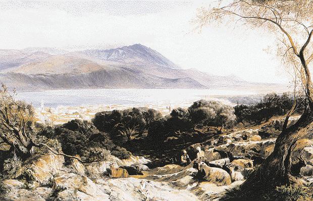 Αποψη του Αργοστολίου το 1864. Ελαιογραφία του Ε. Lear, Fine Art Society. (Φωτ. Ανακαλύπτοντας την Ελλάδα, Ζωγράφοι και Περιηγητές του 19ου αι.).