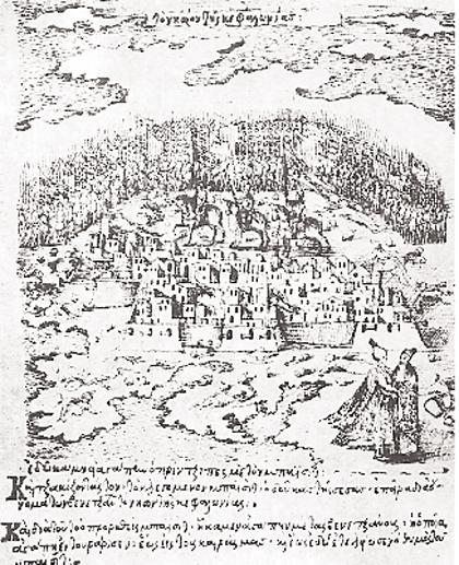 Η παράδοση του Κάστρου του Αγίου Γεωργίου από τους Τούρκους στους Βενε-τούς το 1500. Μικρογραφία από τον κώδικα του Κρητικού ζωγράφου Γεωργίου Κλόντζα. (Μαρκιανή Βιβλιοθήκη, Βενετία)