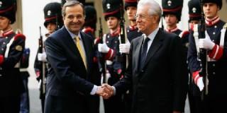 """""""Ο πρωθυπουργός Μάριο Μόντι συνάντησε σήμερα στη Ρώμη τον Έλληνα ομόλογό του"""