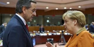 Ο πρωθυπουργός Αντώνης Σαμαράς συνομιλεί με την καγκελάριο της Γερμανίας Ανγκελα Μέρκελ