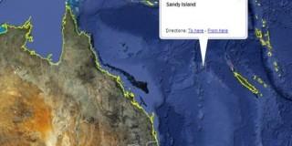 Το Google Earth εμφανίζει τη νήσο «Σάντι» ανάμεσα στην Αυστραλία και τη Νέα Καληδονία (Δεδομένα: SIO, NOAA, US Navy, NGA, GRBCO)