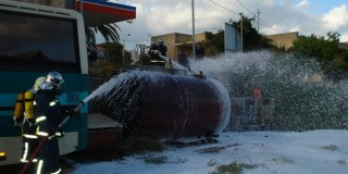 Άσκηση της πυροσβεστικής στο βενζινάδικο του Στυλιανουδάκη