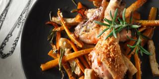 Kοτόπουλο με καρότο και κεφαλοτύρι