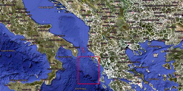 Η απόσταση μεταξύ Ιονίων Νήσων και στενών του Οτράντο