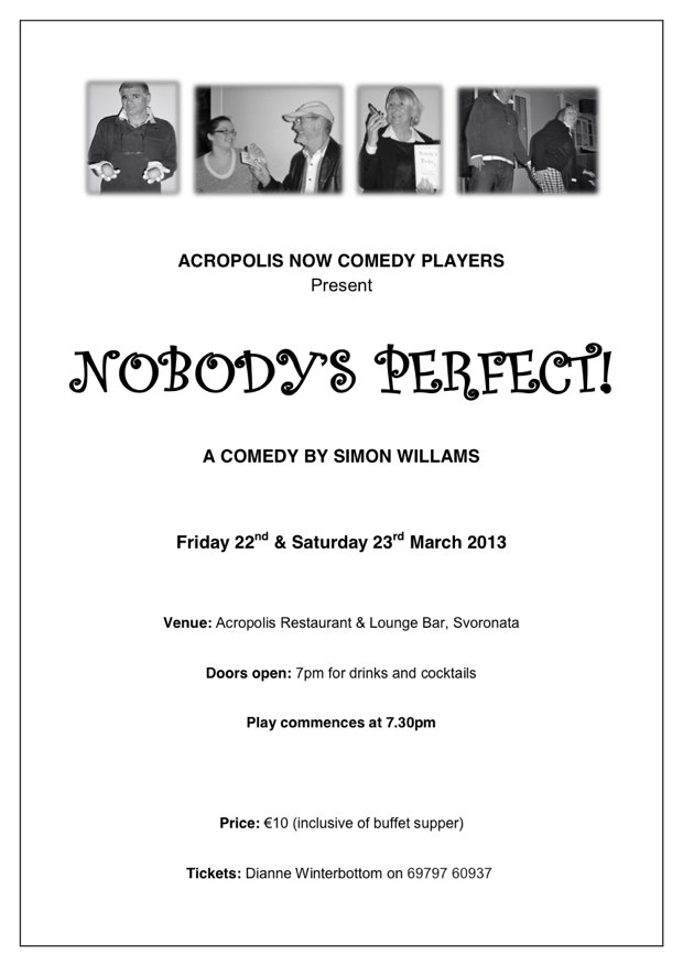 """Nobody's Perfect"" - A comedy by Simon Willams"