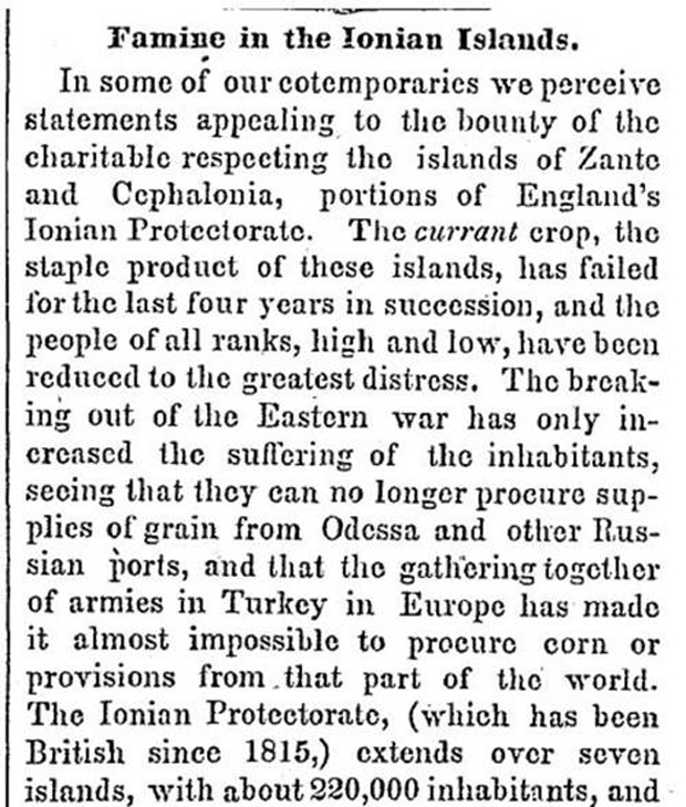 Famine in the Ionian Islands