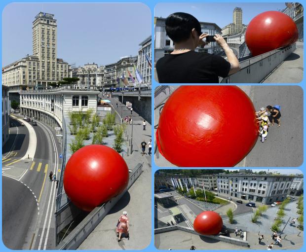 Μία τεράστια κόκκινη μπάλα αλλάζει κάθε μέρα θέση στη Λωζάνη