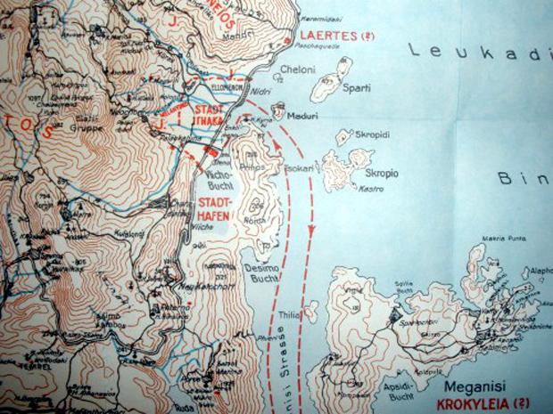 Λεπτομέρεια από το χάρτη Leucas (Alt-Ithaka) με την πόλη και το λιμάνι της Ιθάκης κατά τον Νταίρπφελντ (Πηγή: Wilhelm Dörpfeld, Alt-Ithaka, Zweiter Band)