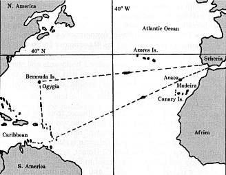 Σχεδιάγραμμα που παρουσιάζει την περιπλάνηση του Οδυσσέα