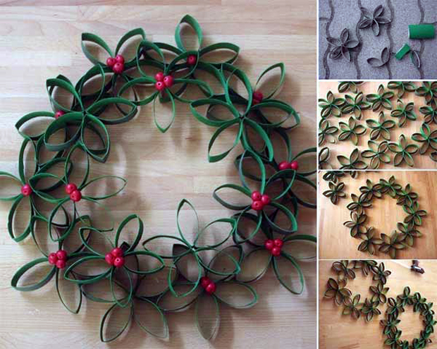 Christmas-Wreath-made-from-Toilet-Paper-Roll