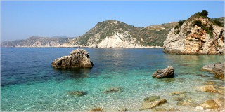 Agia Eleni beach on Kefalonia, the largest Greek island in the Ionian Sea.