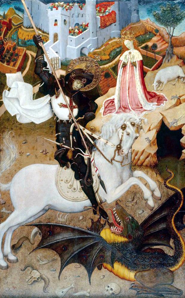 Απεικόνιση του αγίου φορώντας ένα κόκκινο σταυρό σε λευκό μανδύα ιππότη, από τον Μπερνάτ Μαρτορέλλ, 1430