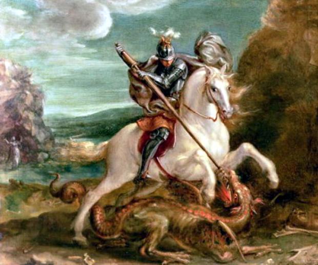 """""""St. George slaying the dragon"""" του Hans Von Aachen"""