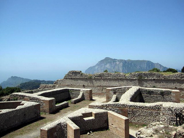 Emperor Tiberius's Villa Jovis on the Island of Capri, Italy.