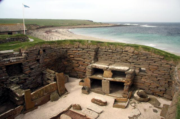The interior of one of the Neolithic houses at Skara Brae, Orkney Island.