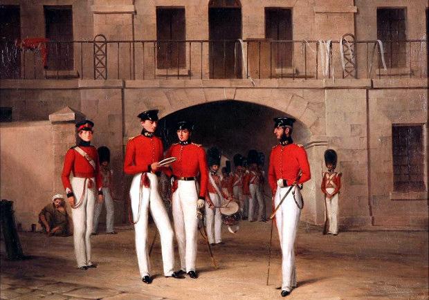 Βρετανοί στρατιώτες και αξιωματικοί κατά τη δεκαετία του 1840, στη Μεσόγειο