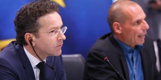 ο υπουργός Οικονομικών, Γ. Βαρουφάκης, κατά την κοινή συνέντευξη τύπου με τον πρόεδρο του Eurogroup, Γ. Ντάισελμπλουμ.