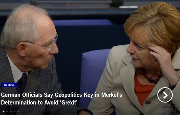 Το πρωτοσέλιδο του Euroinsight, που επικαλείται Γερμανούς αξιωματούχους