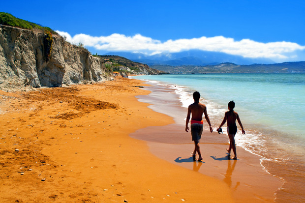 Sandy red beach at Kefalonia island in Greece
